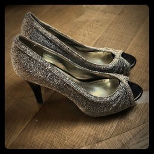 Glittery silver and black pumps